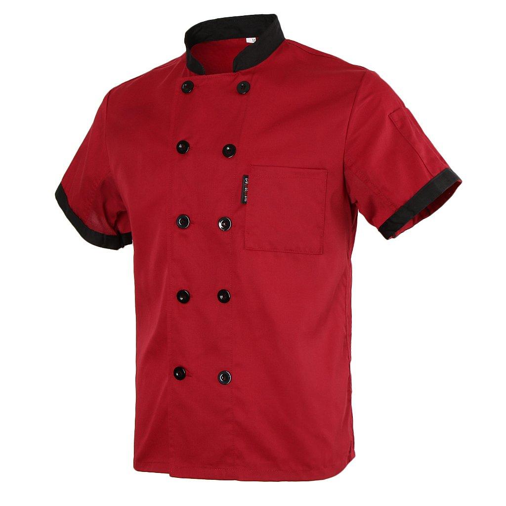 Homyl Short Mesh Sleeves Chef Jacket Coat Kitchen Bakery Uniform for Women Men