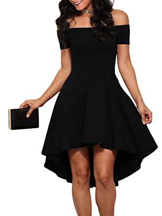 e90fc0a64d LOSRLY Womens Off The Shoulder Skater High Low Homecoming Party Cocktail  Dress Little Black S 4