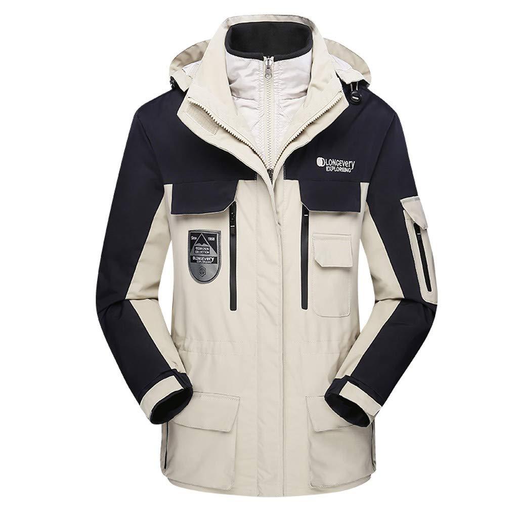 Luca-Coat LUCAMORE Unisex Hooded Waterproof Windbreaker Jacket Detachable Rain Jacket Outdoor Casual Sportswear White by Luca-Coat