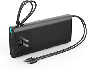 20000mAh Portable Charger,QC3.0 Quick Charge USB C Power Bank, PD 18W High-Speed Fast Charger 5.1A External Battery Pack with Built-in AC Wall Plug