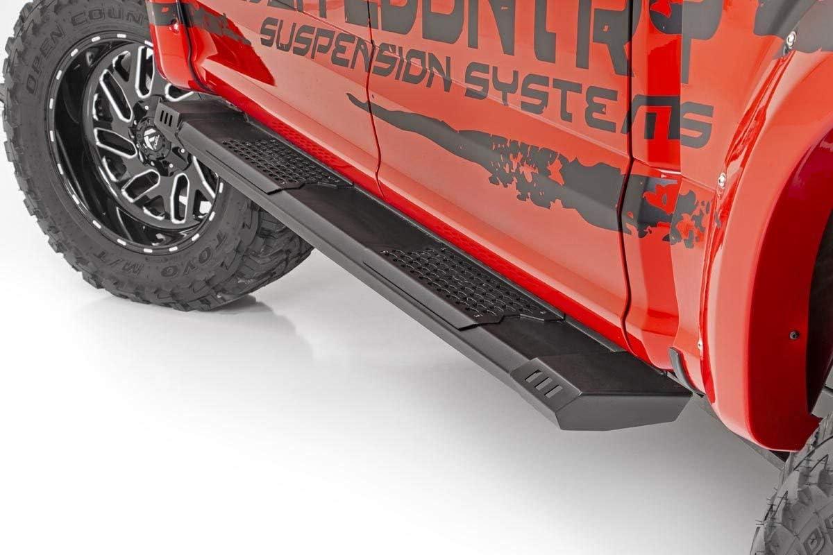 Rough Country XL2 Nerf Bar Drop Steps Compatible w// 2019 Chevy Silverado GMC Sierra 1500//2020 2500HD Crew Cab 11003