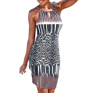 64168423ffc Halter-Neck Sleeveless Dress Women tie Shoulder Sexy Vintage Floral Print  Beach Sundress Side