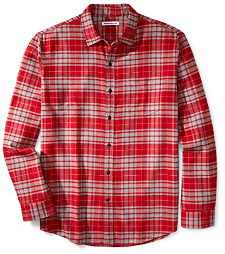 (Amazon Essentials Men's Regular-Fit Long-Sleeve Plaid Flannel Shirt, Red/Grey Plaid,)