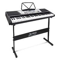 ALPHA 61 Keys Electronic Piano Keyboard Portable Digital Keybaord with 100 Tones Rhythms 10 Demos LED Electric Holder Music Stand Adaptor Batt