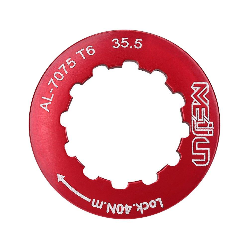 Bicycle Flywheel, Aluminum Alloy 4 Colors Flywheel Locking Cover Locking Ring for Mountain Bike Road Bike(Red)