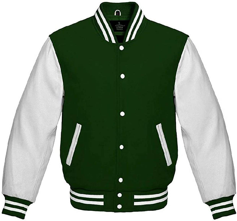 Lishow Fashion Varsity Jacket for Baseball Letterman Bomber School College Green Wool /& Genuine White Leather Sleeves