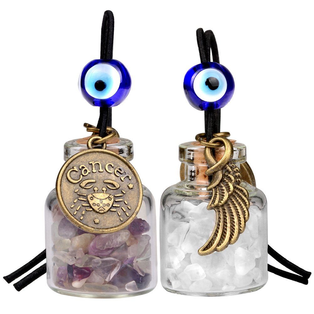Zodiac Cancer Angel Wings Small Car Charms or Home Decor Gem Bottles Fluorite Quartz Birthstone Amulets