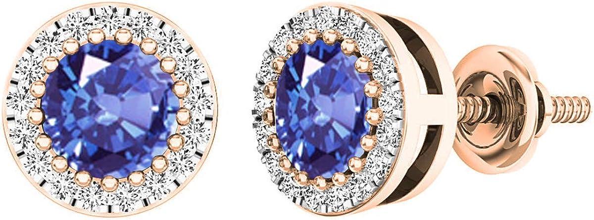 Pendientes de oro rosa de 18 quilates, 5 mm cada uno, con diamantes blancos y piedras preciosas