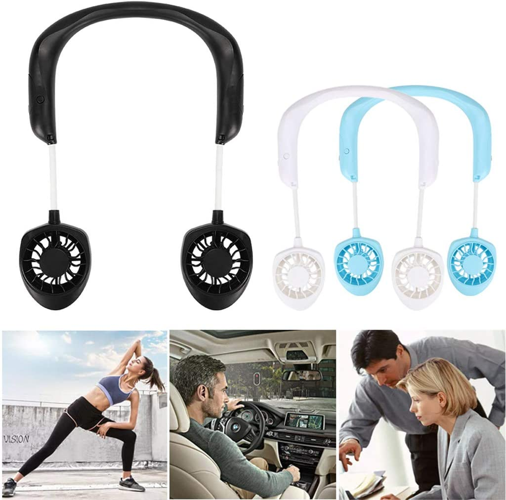White iuchoice ❤️❤️ Portable USB Rechargeable Neckband Lazy Neck Hanging Style Dual Cooling Fan