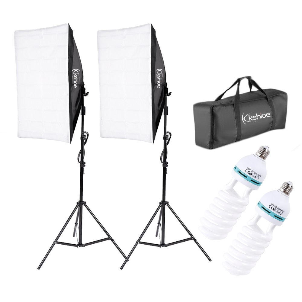 Kshioe 20''X28'' Photography Softbox Lighting Kit 1350W Continuous Lighting System Photo Equipment Soft Studio Light With Light Stand And Convenient Carry Bag