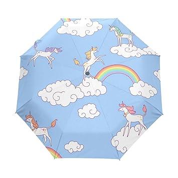 bennigiry blanco unicornios y nubes 3 Folds Auto Abrir Cerrar paraguas compacto, resistente al viento