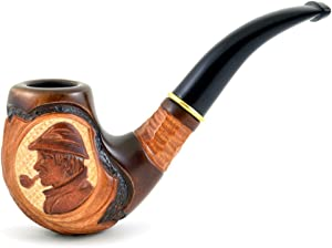 6.1'' (15,5cm) ''Sherlock Holmes'' Carving wooden smoking pipe. Best smoking pipes. WORLDWIDE shipping.