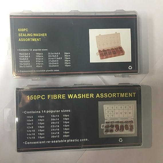 KOKO Zhu 150pcs 14 tama/ños Arandelas Kit de Arandelas Planas de Fibra de Papel de Acero Rojo Arandela de Aislamiento Conjunto Surtido con Caja