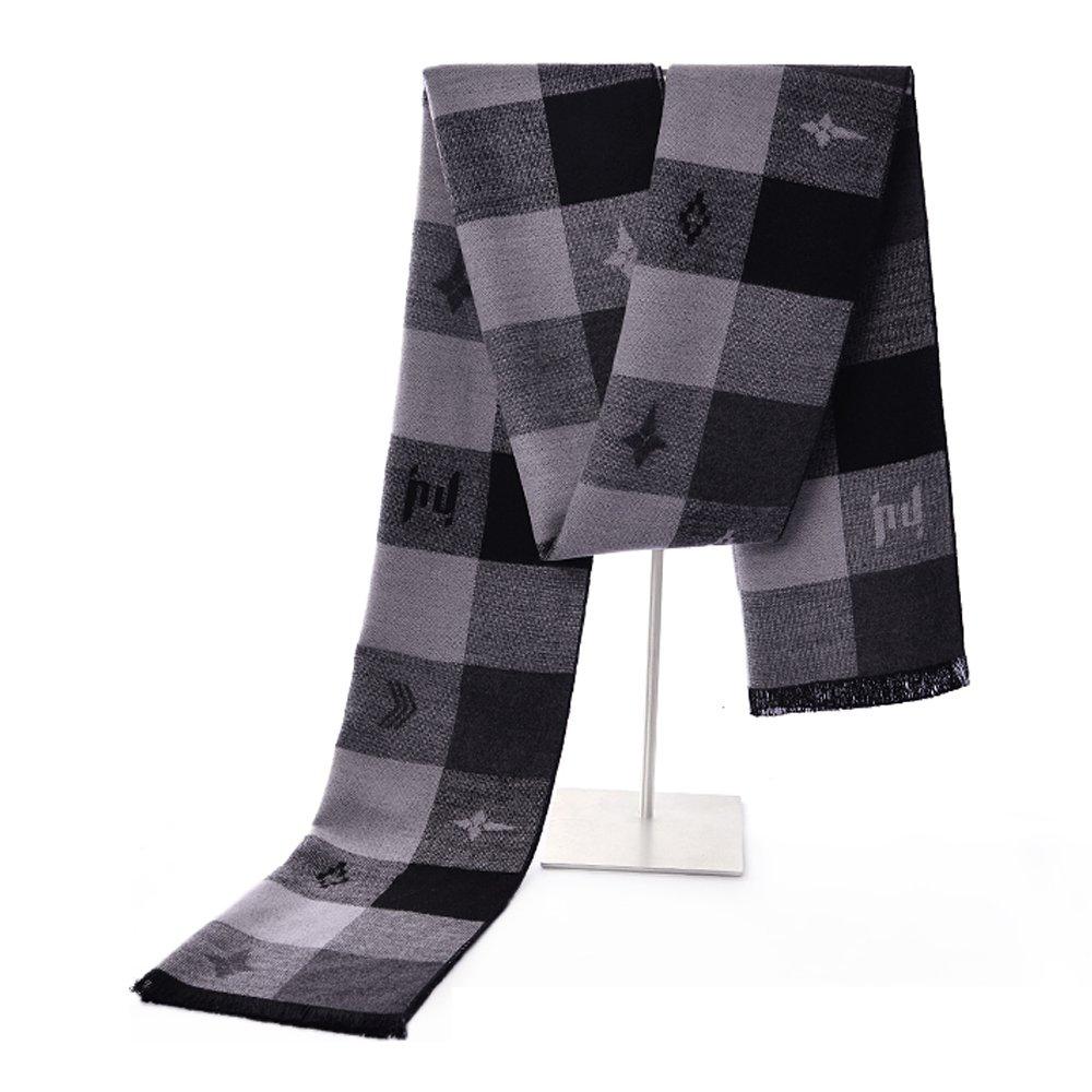 Mens Winter Cashmere Scarf - Ohayomi Fashion Formal Soft Scarves for Men(Grey/Black Plaid)