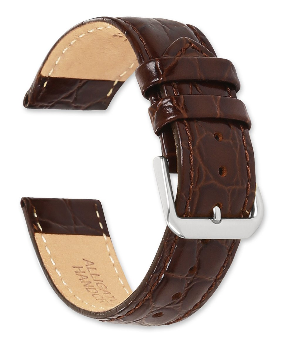 Alligator Grain Watchband - Brown 18MM (Long)