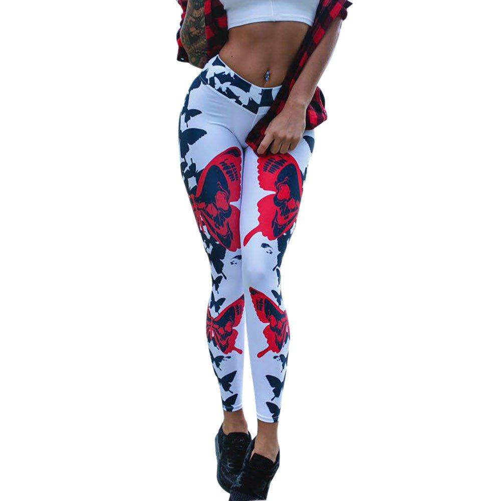 Women Sport Yoga Pants,Jchen(TM) Women Butterfly Print Mid Waist Leggings Casual Sports Yoga Pants Pencil Pants (S, White)