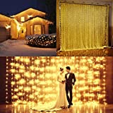 Flower Sea9 Warm White 9.8×9.8ft 300Led Window Curtain Icicle Lights Linkable Christmas Curtain String Fairy Wedding Led Lights for Weddings, Window Decorations,Outdoor Wall
