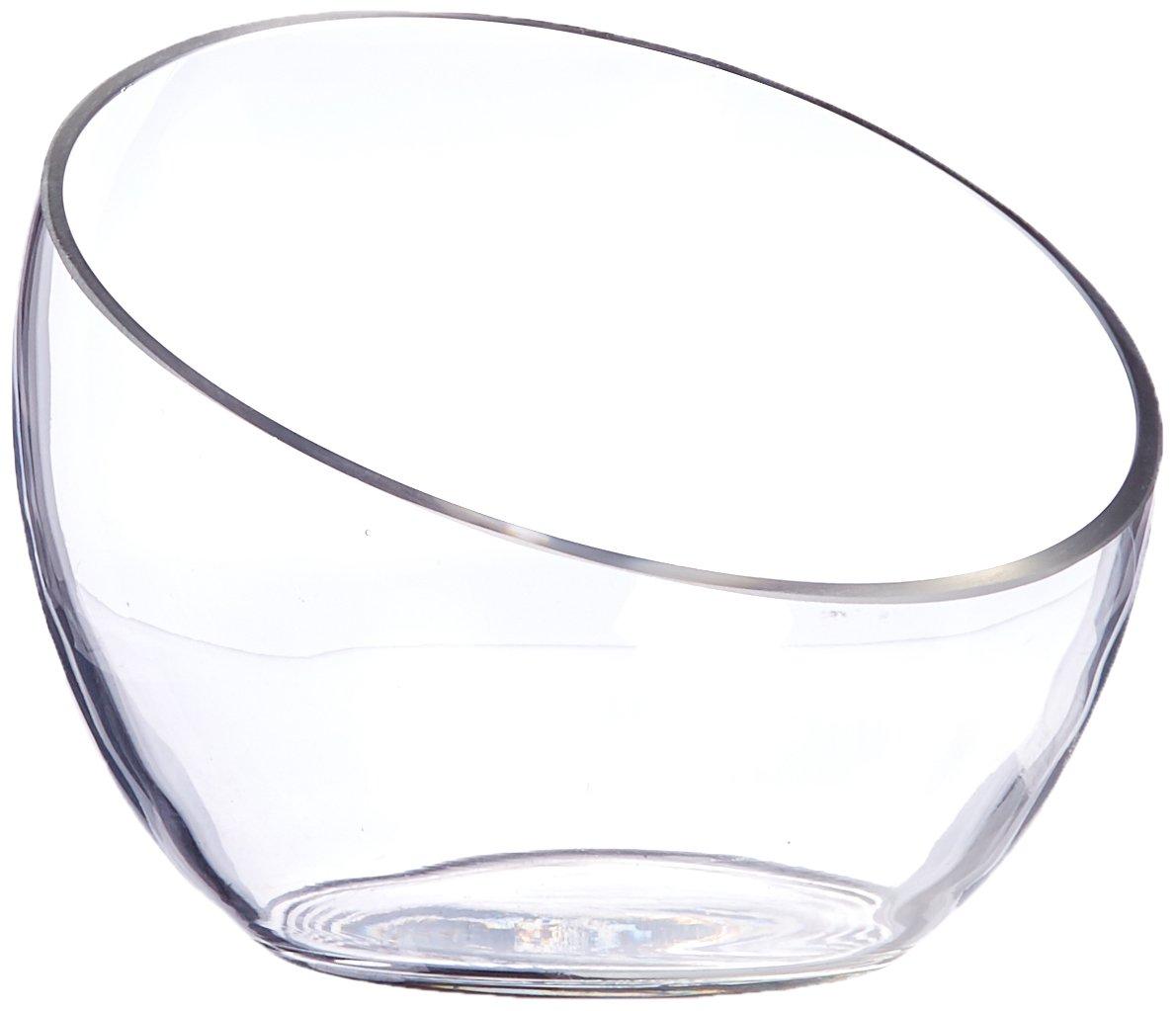 WGV Clear Slant Cut Bowl Glass Vase/Glass Terrarium, 6-Inch x 2.7-Inch GCU063-1PC