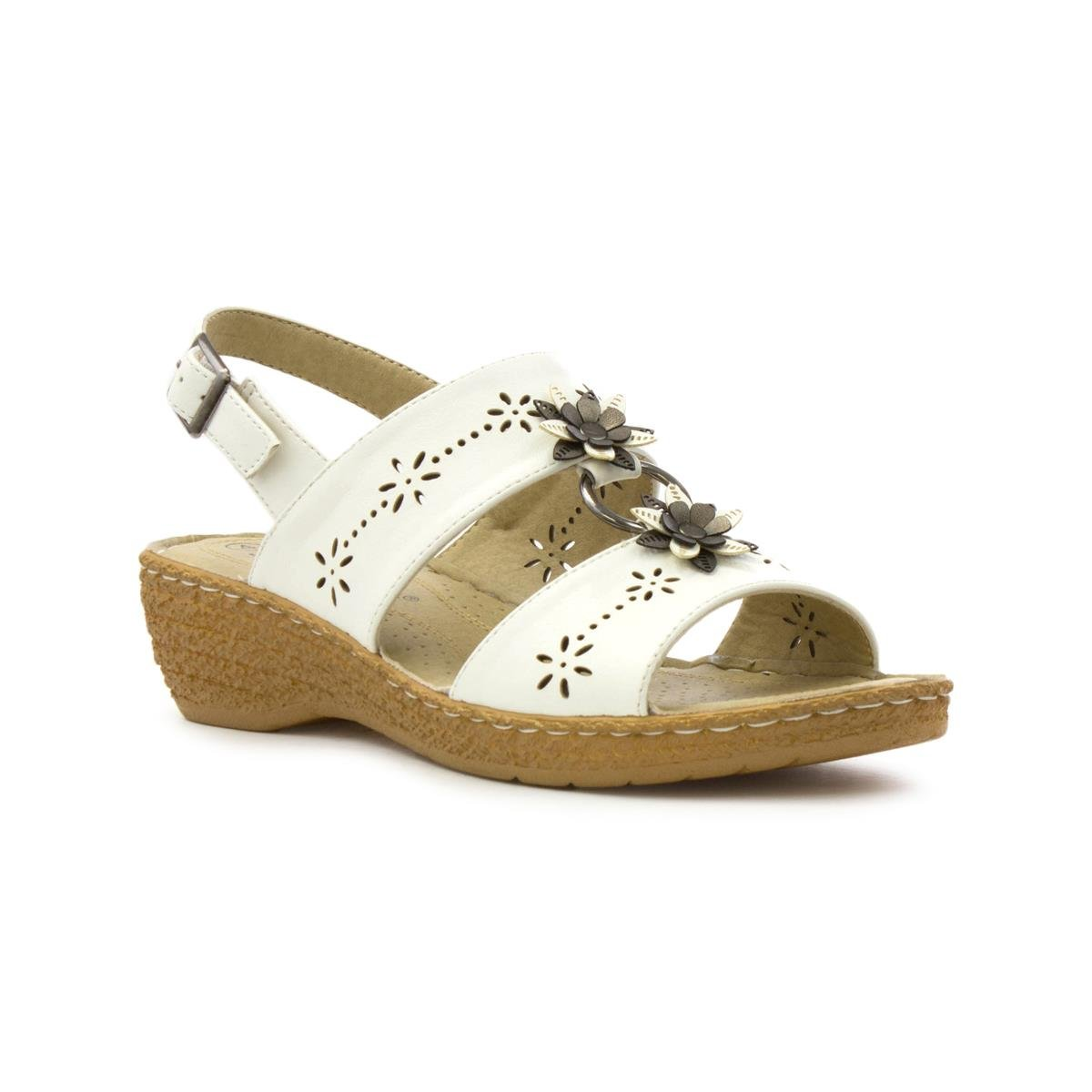 97a235878c47f Softlites Womens White Wedge Comfort Sandal