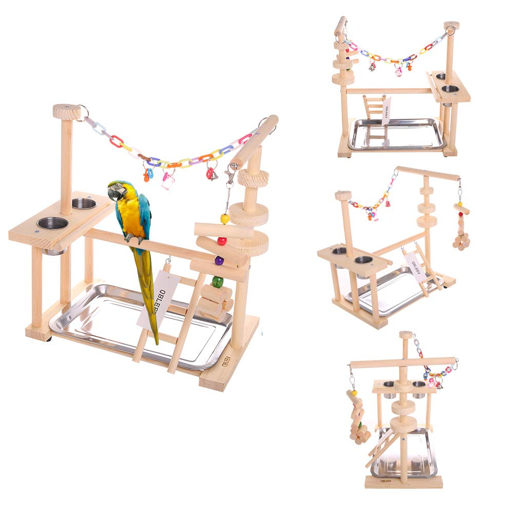 QBLEEV Parrot Playstand Bird Playground Wood Perch Gym Playpen Ladder with Toys Exercise Play (Include a Tray) (16''L10''W15''W)
