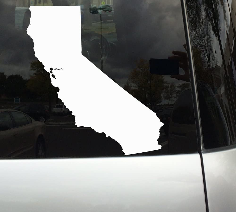 Applicable Pun California State Shape - The Golden State - White Vinyl Decal Sticker for Car, MacBook, Laptop, Tablet and More (10 Inch)