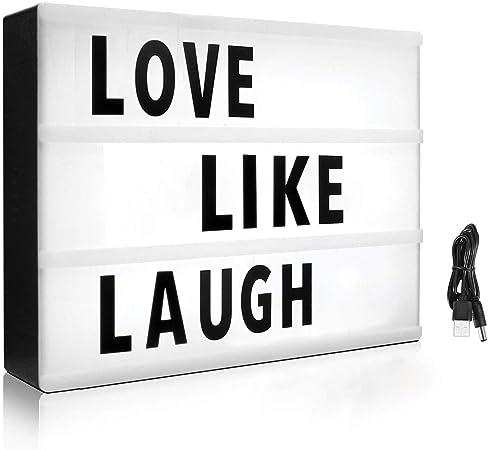 Caja de luz de cine con 215 letras y emojis – Mini caja de luz LED cinemática para decoración del hogar o negocio – USB o funciona con pilas (tamaño A4, blanco):