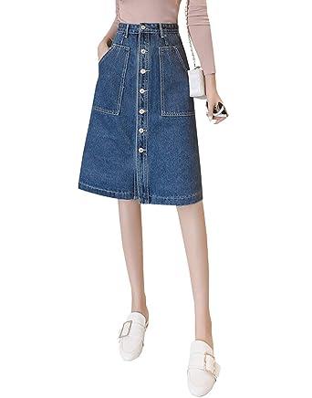 f800d48bb TOPJIN Women's Front Button Closure Knee Length A Line Denim Skirt Jeans  Dress S Dark Blue