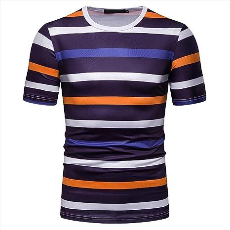 Eharbory Camiseta Manga Corta Los Hombres Ocio Algodón Color ...