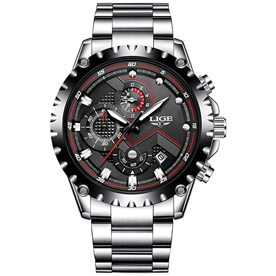 LIGE Relojes Hombres Acero Inoxidable Impermeable 30M Deportes Reloj De Cuarzo Analógico Moda Fecha Negocios Reloj Clásico Negro Hombres