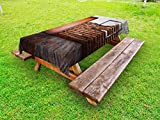 Ambesonne Antique Outdoor Tablecloth, Picture Frame on Damaged Brick Wall Aged Old Room Rustic Wooden Floor, Decorative Washable Picnic Table Cloth, 58 X 104 inches, Dark Orange Brown White