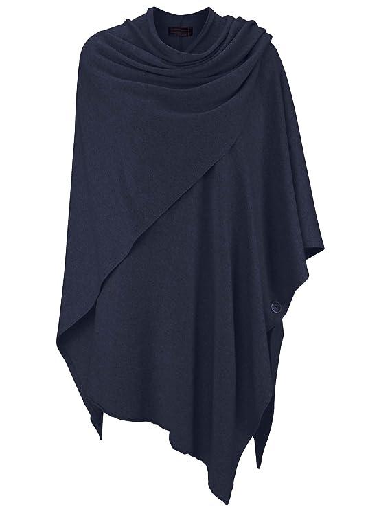 Zwillingsherz Poncho-Schal mit Kaschmir - Hochwertiges Cape für Damen - XXL Umhängetuch und Tunika mit Ärmel - Strick-Pullove