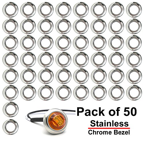(Pack of 50) Madcatz 304 Stainless Steel Cover for 3/4 Inch Mount Clearance Bullet Marker lights, Side LED marker lights (Light not included) for cheap