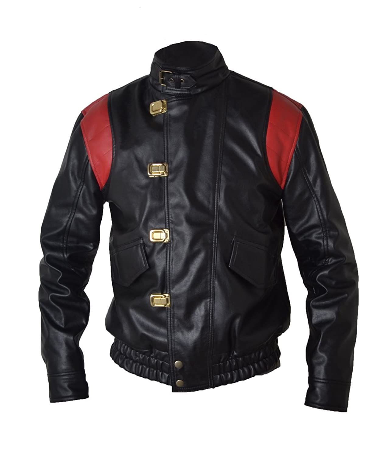 Akira Manga V4 Black with Red Stripes Real Sheep Leather Leather Jacket With Capsule & Wordings