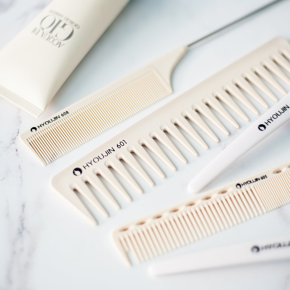 HYOUJIN 6in1 7ps Ivory White Professional Hair Styling Comb Set kit Beard Comb kit set & Heat-resistance w/Cutting Comb + Wide tooth comb + Pintail comb + 2 Hair Clips & Felt Pouch by HYOUJIN (Image #2)