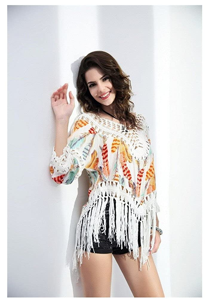 996d286284dbe FEATURES:The Swimsuit Cover Up one size fits most, Loose fitting , Sexy/  Boho style, Lace crochet, 3/4 Sleeve,fashion swimwear cover-ups shirt.