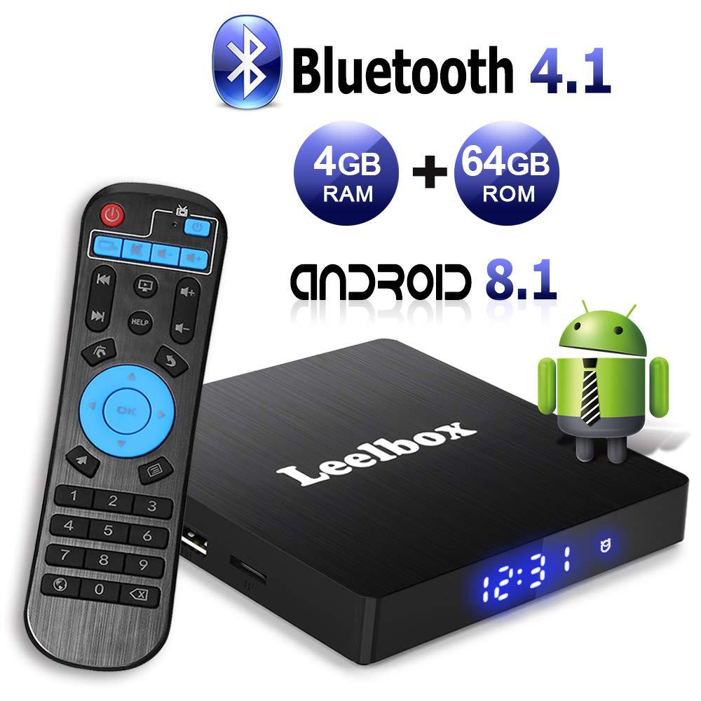 Android 8.1 TV Box with 4GB RAM 64GB ROM, Leelbox Q4 max RK3328 Quad Core 64 bit Built in BT 4.1,Supporting 4K (60Hz) Full HD/3D/H.265/WiFi 2.4GHz,USB 3.0[2018 Version]
