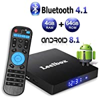 Android 8.1 TV Box with 4GB RAM 64GB ROM, Leelbox Q4 max RK3328 Quad Core 64 bit Built in BT 4.1,Supporting 4K (60Hz) Full HD/3D/H.265/WiFi 2.4GHz,USB 3.0[2018 Version]