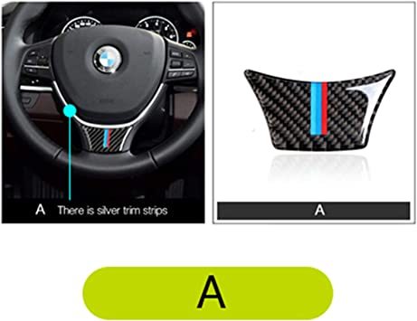 A Type, Classic Carbon Fiber Steering Wheel Stickers Decoration Cap Cover Trim for BMW 5 Series 6th F10 F11 F18 520 523 525 528 530 535 2010-2016 FXP05