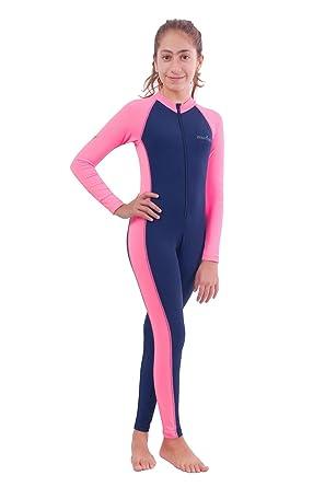 11905a4c506 EcoStinger Girls Full Body Swimsuit UV Swimwear Chlorine Resistant UPF50+  Navy Pink 4