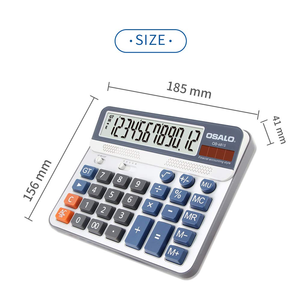 Aibecy Electric Calculator Desktop Counter Solar & Battery Power ABS 12-Digit LCD Display Source for Home Office School -OSALO OS-6815 by Aibecy (Image #4)