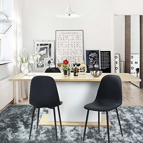 IDS Eames Style Dining Chairs Fabric Cushion Seat Side Chair Armless Living  Room Chairs Set Of 4 (Black)