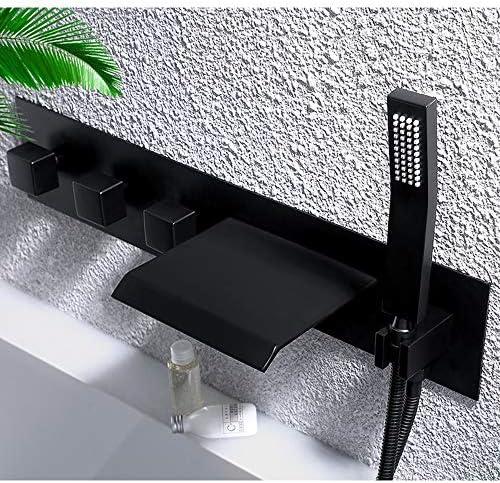 滝浴槽蛇口ホットとコールド水浴室黒3ハンドル浴槽の蛇口壁掛け式バスシャワーミキサータップハンドヘルドシャワー