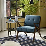 Rocket – Mid Century Modern Accent Lounge Arm Chair – Comfortable All Foam – Sturdy Solid Wood Frame Z Rocket Style – Tufted Upholstery – Blue – INK+IVY For Sale