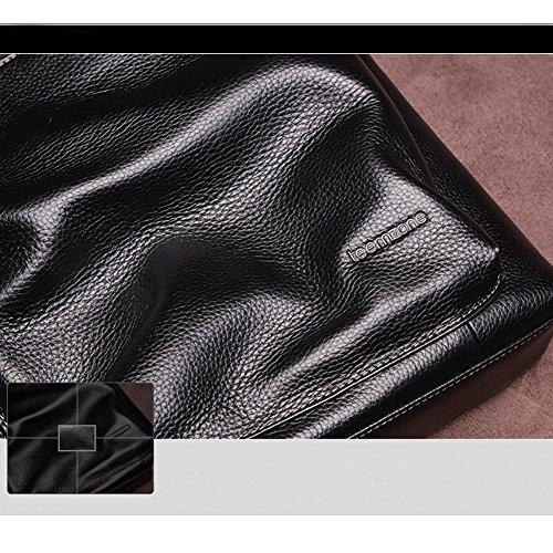 Teemzone Maletín de Cuero Hombre Bolso de Cruz-cuerpo Mensajero Ordenador Portátil (Horizontal Café) Vertical Negro