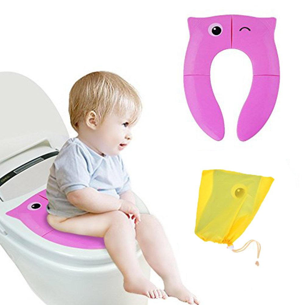 Foldable Travel Potty Seat Non Slip Silicone Pads with Carry Bag Reusable Toilet Training Seat Covers Liners for Babies, Toddlers and Children (Yellow) Erlsig