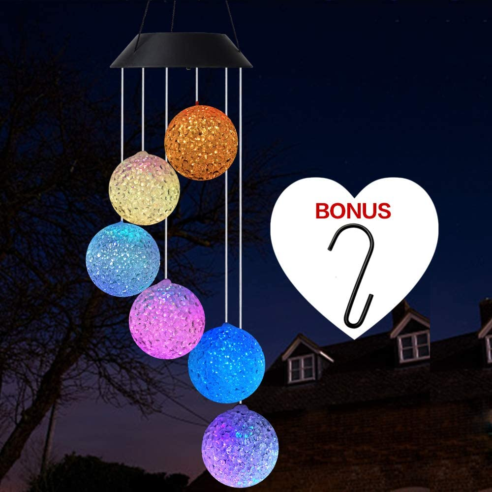 Wind Chime,solar crystal ball/solar hummingbird wind chime Outdoor/indoor S Hook (best gifts for mom/momgrandma gifts/birthday gifts for mom),outdoor decor,yard decorations,memorial wind chimes