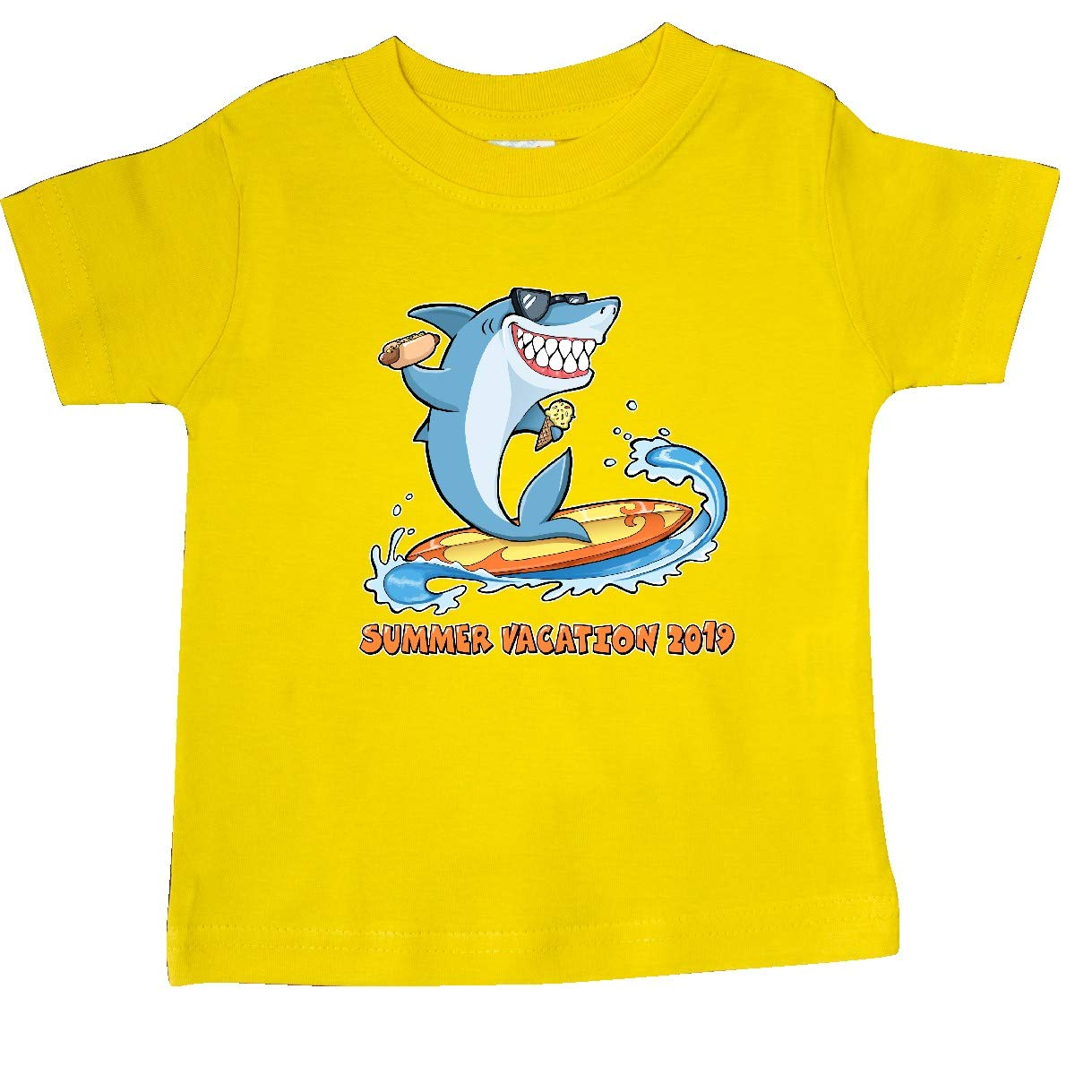 inktastic Summer Vacation 2019 with Shark on Surfboard Baby T-Shirt
