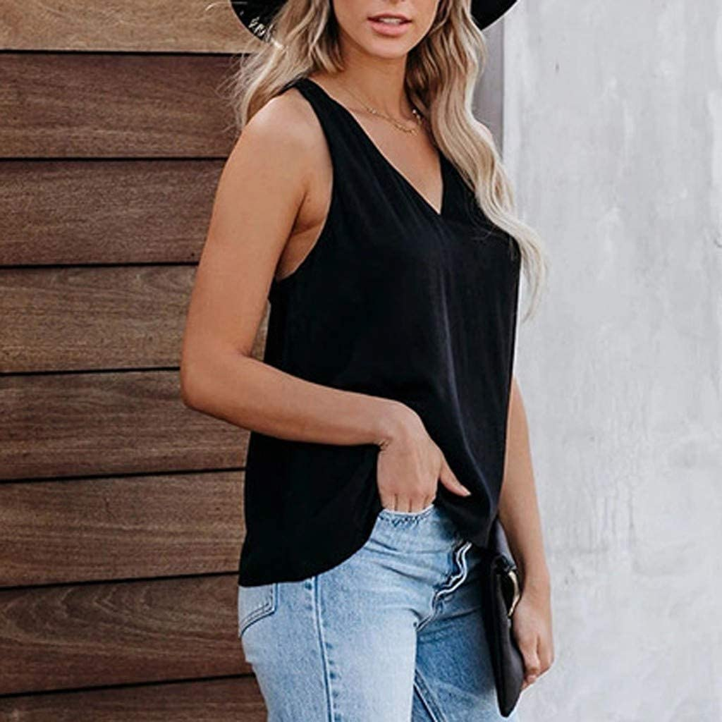 JESFFER Womens Button Down V Neck Solid Striped Tank Tops Loose Casual Camisole for Summer D-Black