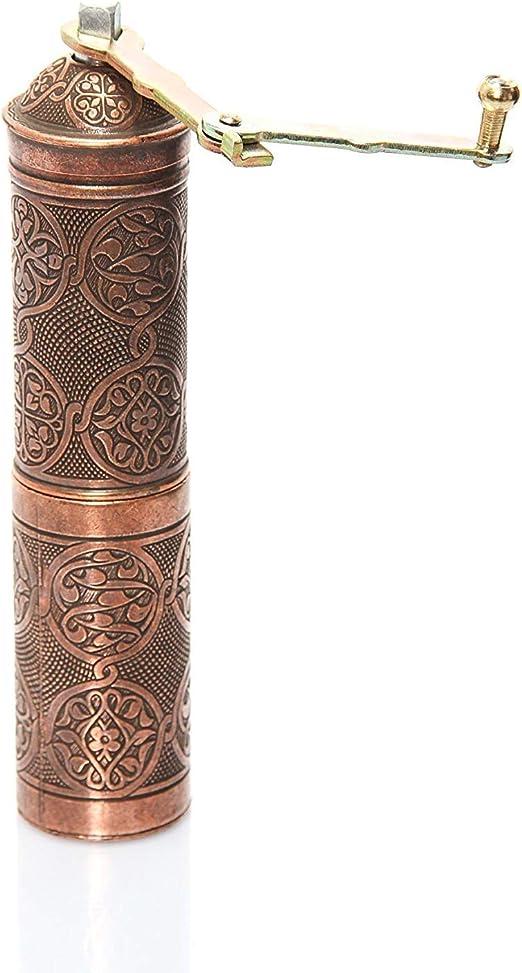 Turkish Handmade Copper Coffee Salt Pepper Spice Grinder Mill 12cm, Silver Havluland