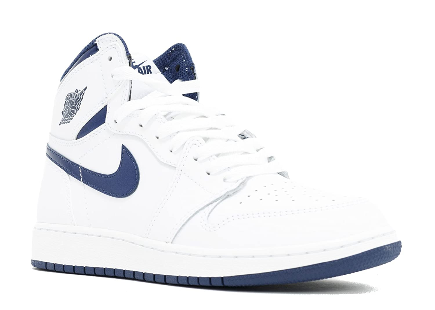 watch 0f505 4f800 Amazon.com  Jordan Nike Kids Air 1 Retro High Og BG White Midnight Navy Basketball  Shoe 4.5 Kids US  Clothing